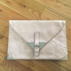 TARNISH Light Pink Leather Clutch Like New
